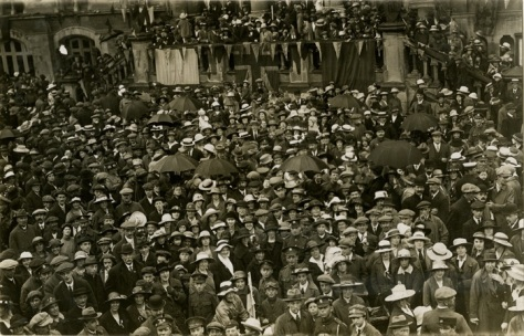 Peace_day_in_Winchester Photograph of a crowd of people celebrating the end of the First World War. 19th July 1919 was designated Peace Day and was marked in different ways across the co