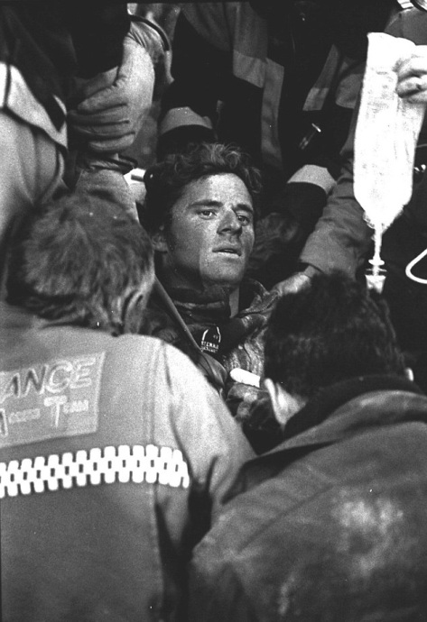Thredbo Landslide. 2nd August 1997. This photograph was taken moments after Stuart Diver was freed from the rubble after spending 65 hours buried in the rubble. Mr Diver lost his first w