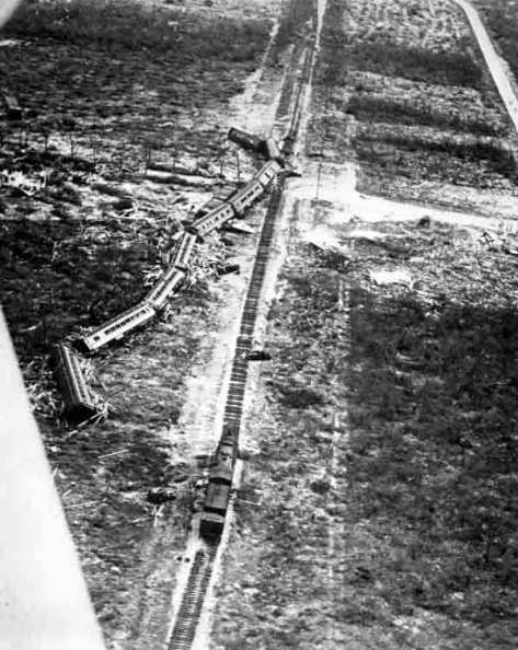 Train_derailed_by_the_1935_hurricane Florida East Coast Railway Overseas Railroad relief train derailed near Islamorada, Florida during the 1935 Labor Day hurricane.