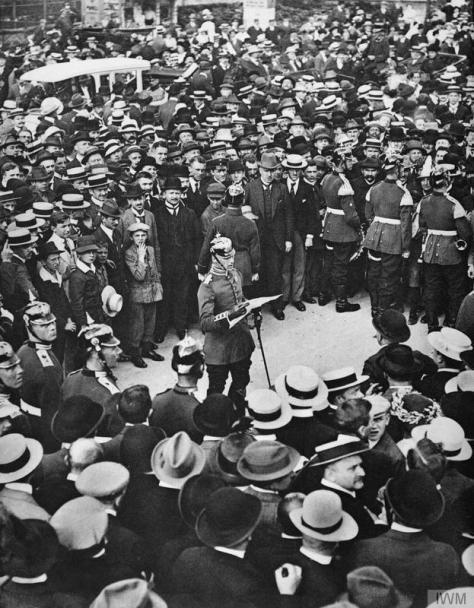Berlin crowd listens as a German officer reads the Kaiser's order for mobilisation on 1st August 1914. The following day Germany invaded Luxembourg and demanded free passage through Belg
