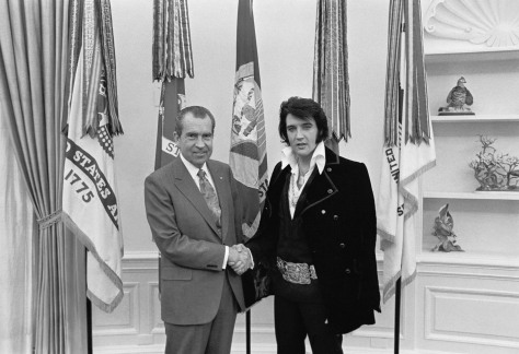 Elvis Presley meeting Richard Nixon. On December 21, 1970, at his own request, Presley met thr then-President Elvis is on the right. Said to be 'of the two greatest recording artists of