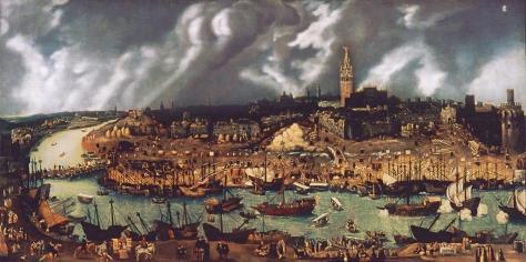 La_sevilla_del_sigloXVI Seville Spain in the 16th Century credited to Alonso Sánchez Coello