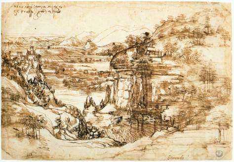 Leonardo da Vinci Landscape drawing for Santa Maria della Neve on 5th August 1473 Arno Valley first known dated drawing by da Vinci