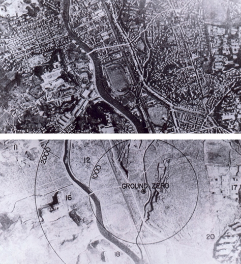 Nagasaki_1945_-_Before_and_after_(adjusted) Nagasaki, Japan, before and after the atomic bombing of 9th August, 1945.