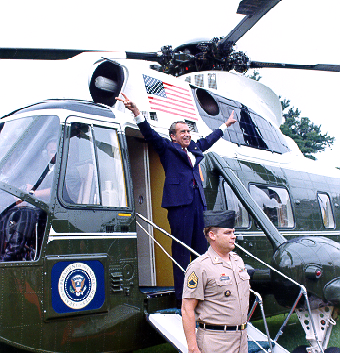 Nixon-departOliver F. Atkins_ photo of Nixon leaving the White House on Marine One shortly before his resignation became effective, August 9, 1974.
