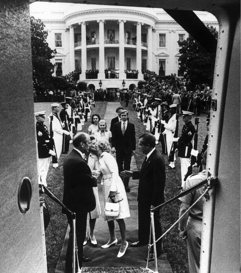 Oliver F. Atkins' photo of Nixon leaving the White House shortly before his resignation became effective, 9th August 1974.