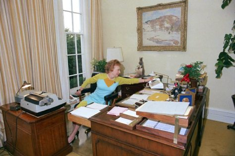 Rose Mary Woods demonstrates how she claims she erased Watergate scandal tapes. President Richard Nixon Secretary. 1970s.