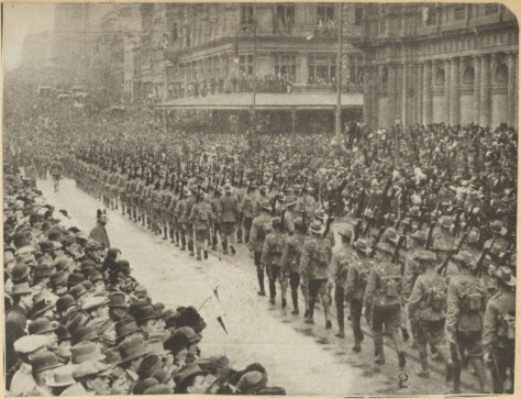 Australian Imperial Force's 2nd Infantry Brigade marching through Bourke Street, Melbourne, Friday, 25th September 1914. First World War. World War One.
