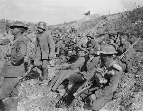 Battle of the Canal du Nord. German prisoners taken near Moeuvres in the 4th Canadian Division's sector during the crossing of the Canal du Nord, 27th September 1918. First World War.
