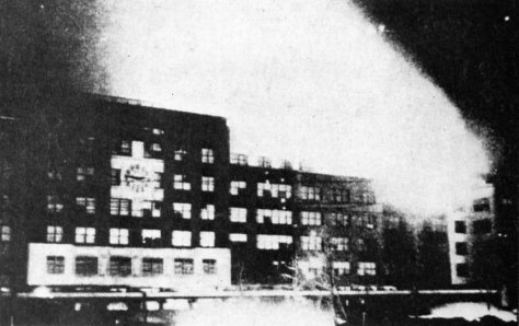 Burning_Nagoya_Station_Nagoya Station in flames, 19th March, 1945, as a result of the Bombing of Nagoya in World War II.