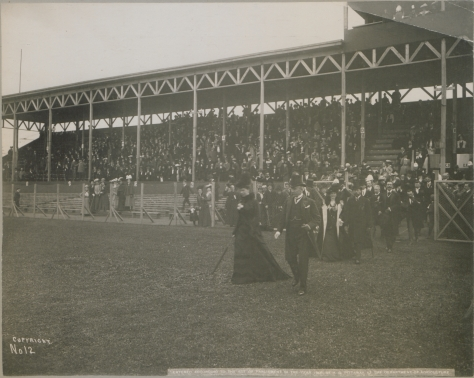 Ottawa Canada Duke's visit, 21st September, 1901. Royal party at Lacrosse match. 1901 royal tour of Canada by Duke and Duchess of Cornwall and York. Edwardian era.