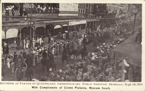 Parade of Queensland Expeditionary Force through the streets of Brisbane, 14 September 1914. Australia. First World War.