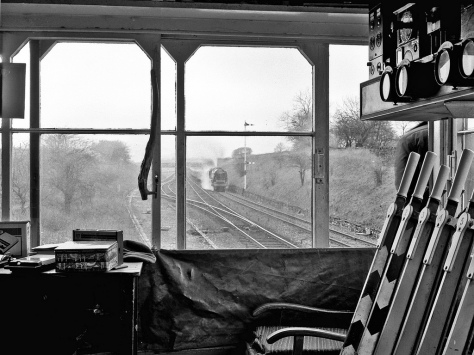 Settle Junction railway station signal box England. 19th march 1983. Black and White.
