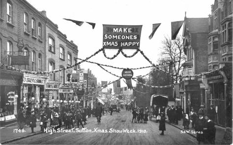 Xmas_Show_Week_1910Sutton High St., Christmas, 1910. South London Greater London.