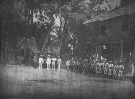 16th December 1914 Australian flag-raising ceremony in Angorum, New Guinea. Proclamation of the Australian Naval and Military Expeditionary Force taking control of the country from the G