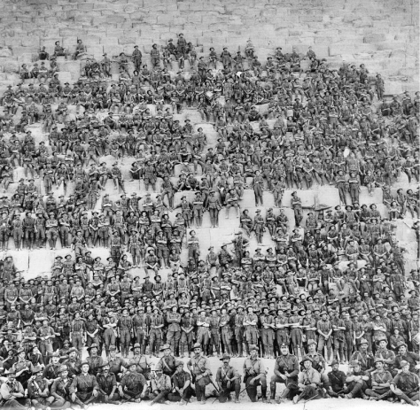 Group portrait of the Australian 11th (Western Australia) Battalion, 3rd Infantry Brigade, Australian Imperial Force posing on the Great Pyramid of Giza on 10 January 1915, prior to the