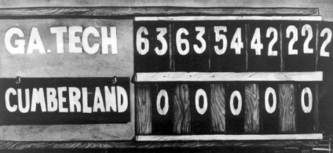 GT_Cumberland_222_scoreboardScoreboard at the end of the 1916 Cumberland vs. Georgia Tech football game.