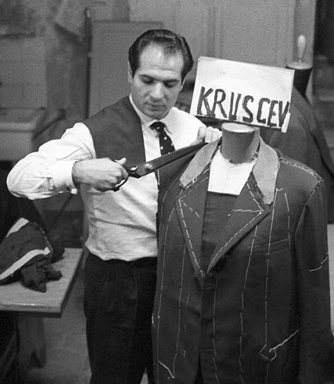Italian fashion designer Angelo Litrico cutting fabric for a jacket for the secretary of the Communist Party of the Soviet Union Nikita Khrushchev. 26th October 1957