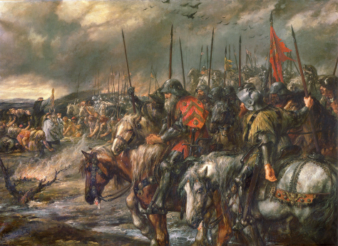 Morning of the Battle of Agincourt, 25th October 1415. By Sir John Gilbert (1817–1897). Painted 1884. 100 Years War