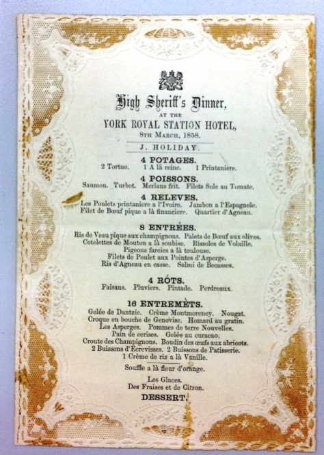 National Railway Museum item 1998-10584 High Sheriff's Dinner Menu Royal Station Hotel York 8 March 1858 Victorian era.
