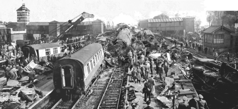 The scene looking south over the aftermath of the Harrow and Wealdstone train crash on 8 October 1952. The United Kingdom's worst peacetime rail disaster.
