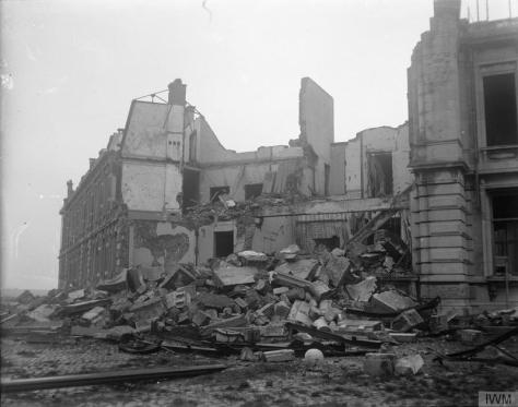 The_Capture_of_Ostend,_October_1918_Q19247Damage to buildings in Gare Maritime, Ostend, blown up by the Germans before the evacuation of 17th October 1918. First world war. World War One
