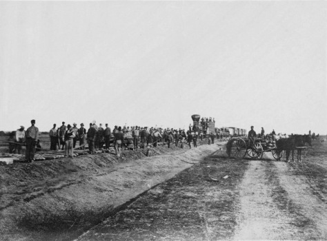 'Westward_the_Course_of_Empire_takes_it_Way_'_Laying_track,_300_miles_west_of_Missouri_River,_19th_October,_1867__(Boston_Public_Library) US History.