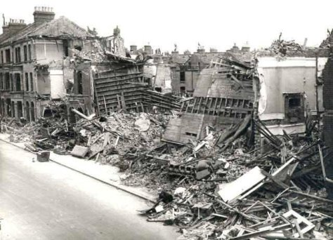 A Flying bomb incident, showing bomb damage to terraced houses in Sandmere Road #Brixton on 1 July 1944. #oldlondon.