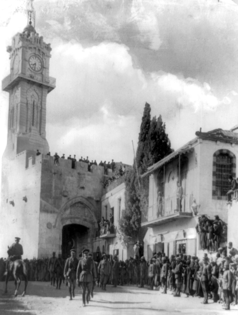 Allenby_enters_Jerusalem_1917General Sir Edmund Allenby entering the Holy City of Jerusalem on foot 1917 to show respect for the holy place. First World War One