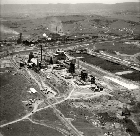 Australian_Iron_and_Steel,_Port_Kembla-_26th_November_1937_(18894130203)Aerial view of Australian Iron and Steel factory in Port Kembla