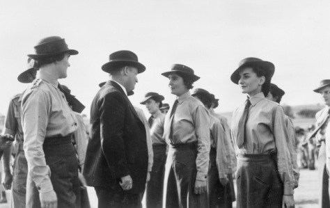 Awas_in_wa_1943Northam, West Australia. 1943-04-20. The Minister for the Australian Army, the Honourable F.M. Forde, inspecting personnel of the Australian Women's Army Service at the We
