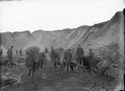 Beaumont_Hamel_mine_crater_Nov_1916_IWM_Q_2006 A Royal Flying Corps working party in a mine crater at Beaumont Hamel, captured in the Battle of the Ancre, 13th November 1916.