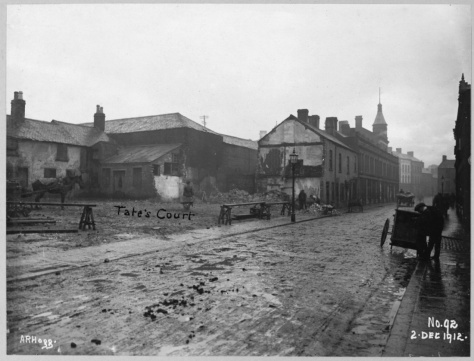 Gardiner Street Area Millfield, gable adjoining No. 142 on plan. Streets in photo Millfield, Tate's Court, Gardiner Street. Belfast Ireland 2nd December 1912 Black and White
