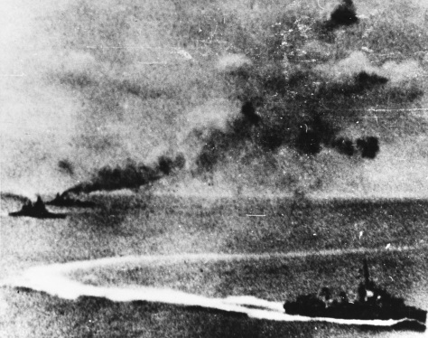 HMS_Prince_of_Wales_and_HMS_Repulse_underway_with_Loss of HMS Prince of Wales (53) and HMS Repulse, 10 December 1941 Photograph taken from a Japanese plane, with the battleship Prince of