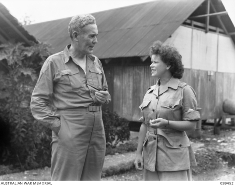Lae, New Guinea, 25 December 1945. The Right Honourable J.B. Chifley talking to Sergeant Pritchard, AWAS, the only woman interpreter of Japanese in the Australian Army.