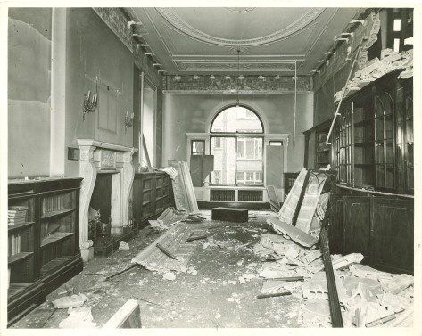 On 23rd February 1944 The London Library came within a few feet of being totally destroyed. Bombed Second World War Two 0238_-_The_Sackler_Study_1944