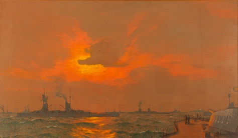 The German Fleet at Anchor off Inchkeith, Firth of Forth - after the Surrender, 22nd November 1918. First World War One War Art. Scotland. Britain.