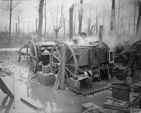 The_Battle_of_the_Somme,_July-november_1916_Battle of the Ancre. Field kitchen of the 2nd Battalion of the Manchester Regiment on water-logged site. Near St.Pierre Divion, November1916.