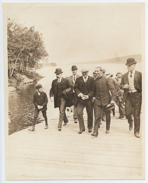 Theodore Roosevelt, during his New England tour, at Lake Sunapee in New Hampshire. 29th August 1902