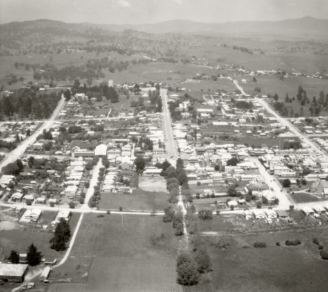 This aerial photograph of the town of Bega in New South Wales, Australia was taken on the 17th of November, 1937. Bega is famous for its cheese.