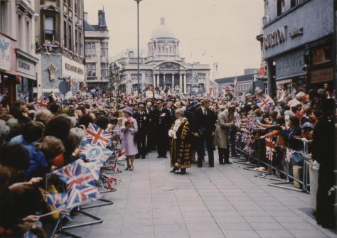 Walkabout in Whitefriargate, Hull, by Her Majesty The Queen 13th July 1977. England Vintage.
