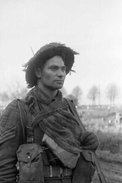 A_British_infantry_sergeant_Second World War Two Black and White 1940s Vintage_BU1434The face of battle an infantry sergeant during the advance into Germany near Geilenkirchen, 5 Decembe