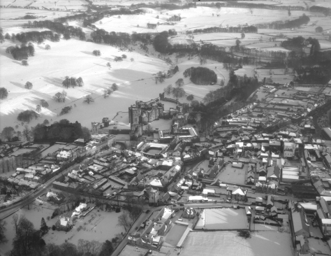 Aerial view of Alnwick, Northumberland, January 1959 Alnwick Castle England Britain Black and White Vintage