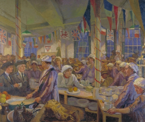 Christmas Day in the London Bridge Canteen depicts HRH Princess Helena Victoria, creator and Chairman of the Ladies' Auxiliary Committee of the YMCA paying a visit to workers during the