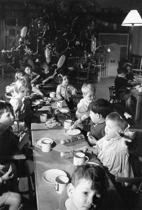 Christmas dinner for children in a home for evacuees at Henley-on-Thames, Oxfordshire, 1941._1941__D5703 England Second World War Two