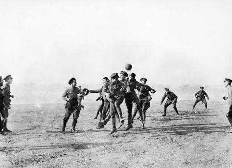 Christmas_day_football_WWI_1915Officers and men of 26th Divisional Ammunition Train playing football in Salonika, Greece on Christmas day 1915. 25th December 1915 British