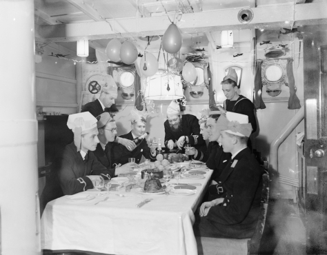 Christmas_dinner_celebrations_on_board_HMS_WESTMINSTER_at_Rosyth,_December_1941__A6484Christmas dinner celebrations on board HMS Westminster at Rosyth, Scotland. 25th December 1941. Roya