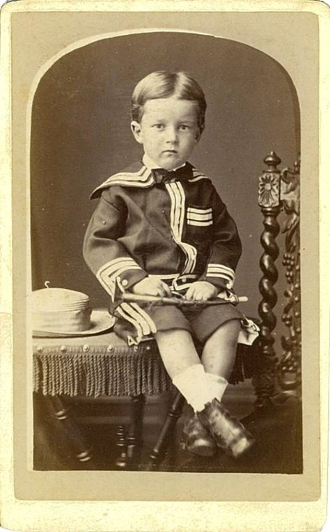 Frederick Farrand Trollope, aged almost three, in his Sunday best and holding a toy sabre. Photographed in Grafton on the 29th of December, 1878. New South Wales Australia VIctorian Era