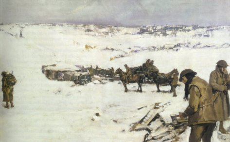 Mametz_Western_Front_(Frank_Crozier)Anzac soldiers in the snow near Mametz, France at the end of the Battle of the Somme. 1916-17. By Frank Crozier (1883–1948), Australian official war