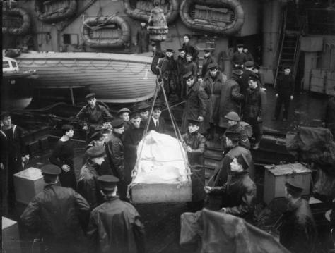 The_Royal_Navy_during_the_Second_World_War_A21177Survivors of the sinking of the Nazi German battleship Scharnhorst. on Britain's HMS Duke of York. Sunk during the Battle of the North Ca
